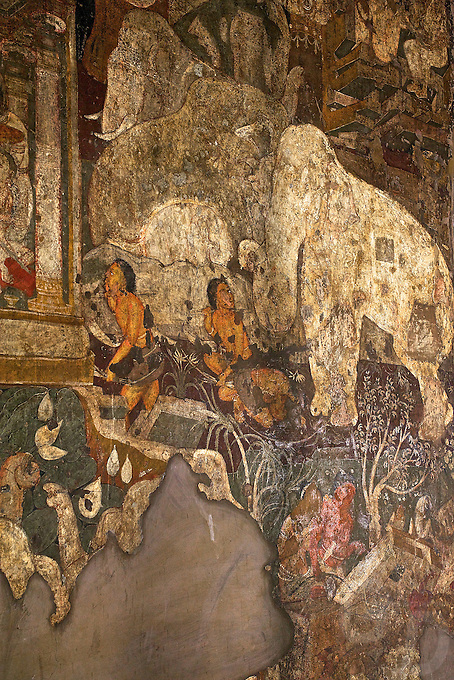 """Ajanta, a UNESCO world heritage site, is famous for its Buddhist rock-cut cave temples and monasteries with their extraordinary wall paintings. The temples are hollowed out of granite cliffs on the inner side of a 20-meter ravine in the Wagurna River valley, 105 km northeast of Aurangabad, at a site of great scenic beauty. About 30 caves were excavated between the 1st century BCE and the 7th century CE and are of two types, caityas (""""sanctuaries"""") and viharas (""""monasteries""""). Although the sculpture, particularly the rich ornamentation of the caitya pillars, is noteworthy, it is the fresco-type paintings that are the chief interest of Ajanta. These paintings depict colorful Buddhist legends and divinities with an exuberance and vitality that is unsurpassed in Indian art.†[Adapted from Encyclopedia Britannica] Cave10 in AjantaCavescontains theoldest Indian paintingsof historical period, made around the 1st century BC.<br /> <br /> ThecavesatAjantadate from the 2nd century B.C.E. to 650 C.E andwerecut into the mountainside in two distinct phases. Discovered by chance in 1819 by British soldiers on a hunt, theAjanta Caveshave become an icon of ancient Indian art, and have influenced subsequent artists and styles.<br /> <br /> Thesepaintingsbeautifully depict various events in the life of Lord Buddha. All the caves are divided into two categories namely the Chaityas or the shrines and the Viharas or the monasteries. Chaityas were used to worship Lord Buddha while the Viharas were used by the Buddhist monks for their meditation"""