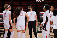 STANFORD, CA - FEBRUARY 19: Tara VanDerveer head coach of the Stanford Cardinal talks with Haley Jones #30 of the Stanford Cardinal at a break during a game between Arizona State University and Stanford University at Maples Pavilion on February 19, 2021 in Stanford, California.