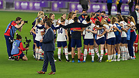 ORLANDO CITY, FL - FEBRUARY 18: The USWNT huddle during a game between Canada and USWNT at Exploria stadium on February 18, 2021 in Orlando City, Florida.