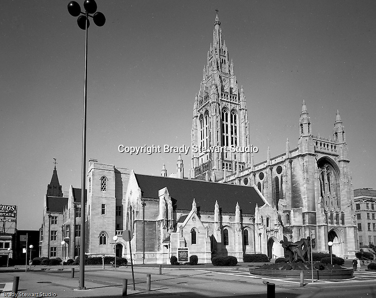 East Liberty PA:  View of the exterior of the East Liberty Presbyterian Church. Brady Stewart Jr and Carmen Sabatasso photographed the interior and exterior of the church in 1976. The photographs were used to illustrate The Art and Architecture of the East Liberty Presbyterian Church; published in 1977. The church was completed in 1935 and was a gift from Mr. and Mrs. Richard Beatty Mellon, a grandson of the original donors of the property where the church had its first site.