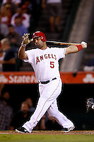 Albert Pujols #5 of the Los Angeles Angels bats against the Seattle Mariners at Angel Stadium on September 26, 2012 in Anaheim, California. Los Angeles defeated Seattle 4-3. (Larry Goren/Four Seam Images)