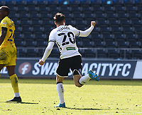 17th April 2021; Liberty Stadium, Swansea, Glamorgan, Wales; English Football League Championship Football, Swansea City versus Wycombe Wanderers; Liam Cullen of Swansea City celebrates after his header makes it 2-2 in the 82nd minute