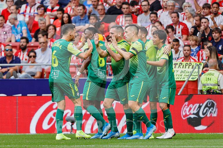 Players of SD Eibar celebrate goal during La Liga match between Atletico de Madrid and SD Eibar at Wanda Metropolitano Stadium in Madrid, Spain.September 01, 2019. (ALTERPHOTOS/A. Perez Meca)