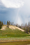 A thunderstorm building over Beach Spring, Yellowstone Lake,  brought lighting, high winds, hail, and driving rain within minutes.  Yellowstone National Park, Wyoming.