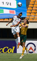 USWNT forward (6) Natasha Kai goes up for a header with Australia's (5) Cheryl Salisbury during the Peace Queen Cup  in Suwon, South Korea.  The U.S. defeated Australia, 2-1, at the Suwon Sports Complex.