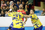 Spain's Iosu Goni (c) and Bosnia Herzegovina's Vladimir Vranjes (l) and Marko Panic during 2018 Men's European Championship Qualification 2 match. November 2,2016. (ALTERPHOTOS/Acero)
