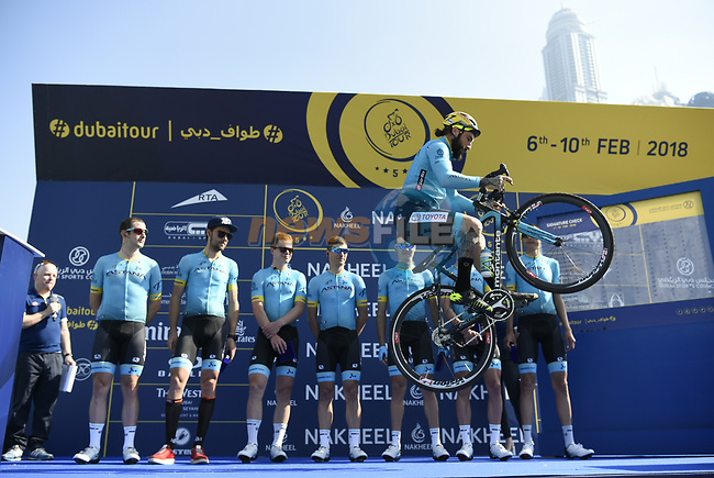 Vittorio Brumotti with Astana Pro Team at sign on before the start of Stage 1 The Nakheel Stage of the Dubai Tour 2018 the Dubai Tour's 5th edition, running 167km from Skydive Dubai to Palm Jumeirah, Dubai, United Arab Emirates. 6th February 2018.<br /> Picture: LaPresse/Fabio Ferrari   Cyclefile<br /> <br /> <br /> All photos usage must carry mandatory copyright credit (© Cyclefile   LaPresse/Fabio Ferrari)