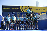 Vittorio Brumotti with Astana Pro Team at sign on before the start of Stage 1 The Nakheel Stage of the Dubai Tour 2018 the Dubai Tour's 5th edition, running 167km from Skydive Dubai to Palm Jumeirah, Dubai, United Arab Emirates. 6th February 2018.<br /> Picture: LaPresse/Fabio Ferrari | Cyclefile<br /> <br /> <br /> All photos usage must carry mandatory copyright credit (© Cyclefile | LaPresse/Fabio Ferrari)