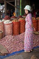 Myanmar, Burma. Mandalay.  Woman in the Market.  Onions, Potatoes, Garlic, Peppers.