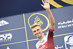 Marcel Kittel (GER) Team Katusha Alpecin at sign on before the start of Stage 4 The Municipality Stage of the Dubai Tour 2018 the Dubai Tour's 5th edition, running 172km from Skydive Dubai to Hatta Dam, Dubai, United Arab Emirates. 9th February 2018.<br /> Picture: LaPresse/Fabio Ferrari | Cyclefile<br /> <br /> <br /> All photos usage must carry mandatory copyright credit (© Cyclefile | LaPresse/Fabio Ferrari)