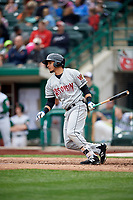 Wisconsin Timber Rattlers right fielder Joantgel Segovia (5) follows through on a swing during a game against the Fort Wayne TinCaps on May 10, 2017 at Parkview Field in Fort Wayne, Indiana.  Fort Wayne defeated Wisconsin 3-2.  (Mike Janes/Four Seam Images)