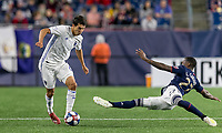 Foxborough, Massachusetts - May 11, 2019: In a Major League Soccer (MLS) match, New England Revolution (blue/white) defeated San Jose Earthquakes (white), 3-1, at Gillette Stadium.