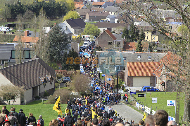 Part of the enormous crowd on the infamous Koppenberg climb during the 96th edition of The Tour of Flanders 2012, running 256.9km from Bruges to Oudenaarde, Belgium. 1st April 2012. <br /> (Photo by Eoin Clarke/NEWSFILE).