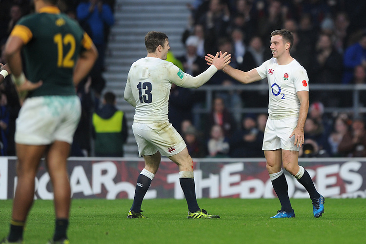Elliot Daly of England congratulates George Ford of England on his try during the Old Mutual Wealth Series match between England and South Africa at Twickenham Stadium on Saturday 12th November 2016 (Photo by Rob Munro)