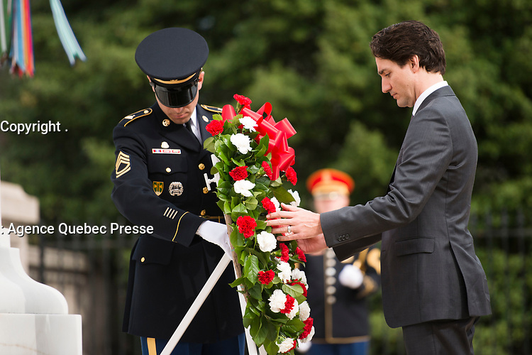 Prime Minister of Canada Justin Trudeau lays a wreath at the Tomb of the Unknown Soldier at Arlington National Cemetery, March 11, 2016, in Arlington, Va. Trudeau laid a wreath at the Tomb and the Canadian Cross of Sacrifice while at the cemetery. (U.S. Army photo by Rachel Larue/Arlington National Cemetery/released).