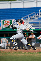 West Virginia Black Bears third baseman Nick Valaika (10) hits a single during a game against the Batavia Muckdogs on July 1, 2018 at Dwyer Stadium in Batavia, New York.  Batavia defeated West Virginia 8-4.  (Mike Janes/Four Seam Images)