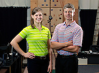 Biomechanical analyst Leigh Allin, left, and director Max Prokopy, right, run the UVA SPEED Clinic in Charlottesville, VA. Photo/Andrew Shurtleff