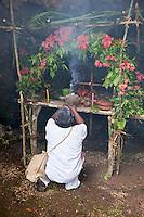 Tres Reyes Maya Community, Riviera Maya, Yucatan, Mexico.  Maya Shaman Conducting Religious Ceremony.