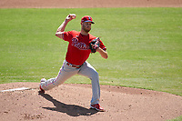 Philadelphia Phillies pitcher Zack Wheeler (45) during a Major League Spring Training game against the Baltimore Orioles on March 12, 2021 at the Ed Smith Stadium in Sarasota, Florida.  (Mike Janes/Four Seam Images)