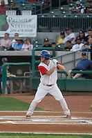 Stockton Ports center fielder Brett Vertigan #46 at bat  during a game against the Visalia Rawhide at Banner Island Ballpark on August 15, 2015 in Stockton, California. Visalia defeated Stockton 9-1. (Robert Gurganus/Four Seam Images)