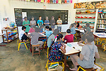 Auroville, India - April 2021: Human Unity in Covid Time. A classroom at Transition school