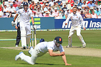 Delight for Tom Craddock of Essex as he watches Jaik Mickleburgh take a catch to dismiss Ian Bell - Essex CCC vs England - LV Challenge Match at the Essex County Ground, Chelmsford - 30/06/13 - MANDATORY CREDIT: Gavin Ellis/TGSPHOTO - Self billing applies where appropriate - 0845 094 6026 - contact@tgsphoto.co.uk - NO UNPAID USE