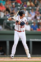 Third baseman Bobby Dalbec (23) of the Greenville Drive bats in a game against the Asheville Tourists on Wednesday, August 2, 2017, at Fluor Field at the West End in Greenville, South Carolina. Greenville won, 1-0. (Tom Priddy/Four Seam Images)