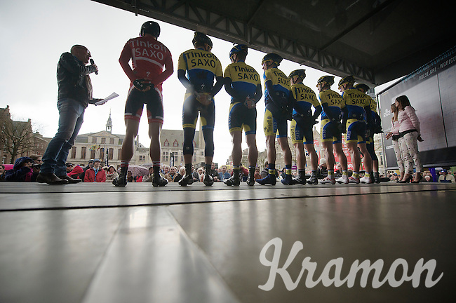 Team Tinkoff SAXO being presented to the crowd on the central Roeselare Square by anouncer (and Sporza commentator) Michel Wuyts<br /> <br /> Dwars Door Vlaanderen 2014