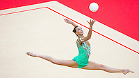 11 AUG 2012 - LONDON, GBR - Joanna Mitrosz (POL) of Poland performs her ball routine during the 2012 London Olympic Games Individual All-Around Rhythmic Gymnastics final at Wembley Arena in London, Great Britain (PHOTO (C) 2012 NIGEL FARROW)