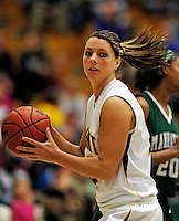5 December 2009: University of Vermont Catamount guard/forward Lauren Wheeler, a Freshman from Ancaster, Ontario, in action against the Manhattan College Jaspers at Patrick Gymnasium in Burlington, Vermont. The Catamounts defeated the visiting Jaspers 78-59 to mark the Lady Cats' second home win of the season. Mandatory Credit: Ed Wolfstein Photo