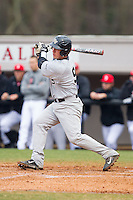 Ben Breazeale (9) of the Wake Forest Demon Deacons follows through on his swing against the Davidson Wildcats at Wilson Field on March 19, 2014 in Davidson, North Carolina.  The Wildcats defeated the Demon Deacons 7-6.  (Brian Westerholt/Four Seam Images)
