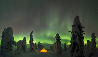 Winter camp in boreal forest, Interior, Alaska.