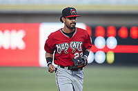 Carolina Mudcats shortstop Freddy Zamora (23) jogs off the field between innings of the game against the Kannapolis Cannon Ballers at Atrium Health Ballpark on June 9, 2021 in Kannapolis, North Carolina. (Brian Westerholt/Four Seam Images)