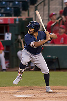 Milwaukee Brewers outfielder Trent Grisham (2) during a Minor League Spring Training game against the Los Angeles Angels at Tempe Diablo Stadium on March 29, 2018 in Tempe, Arizona. (Zachary Lucy/Four Seam Images)