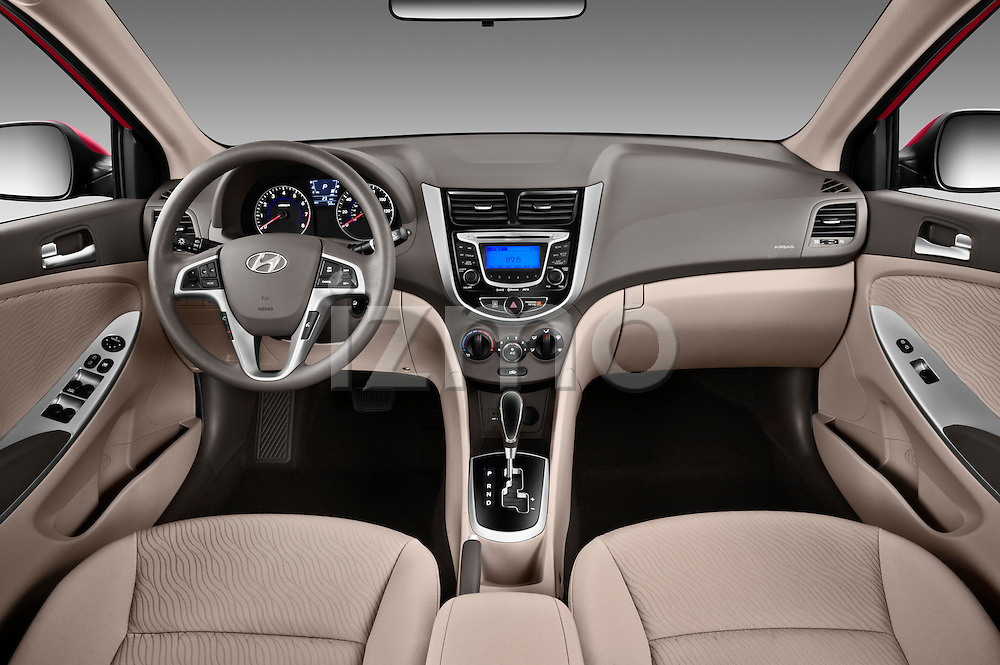 Straight dashboard view of a 2012 Hyundai Accent GLS Sedan.