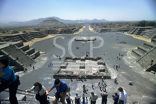 Teotihuacan, Mexico. The Plaza of the Moon and the Avenue of the Dead; huge pre-Columbian city.