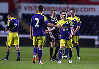 Thursday, 16 April 2014<br /> Pictured: Josh Sheehan of Swansea (R) celebrating his goal with team mate Liam Shephard (2).<br /> Re: FAW Youth Cup Final, Swansea City FC v The New Saints FC at the Liberty Stadium, south Wales,