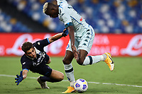 Mattia Del Favero of SC Pescara and Victor Osimhen of SSC Napoli compete for the ball<br /> during the friendly football match between SSC Napoli and Pescara Calcio 1936 at stadio San Paolo in Napoli, Italy, September 11, 2020. <br /> Photo Cesare Purini / Insidefoto