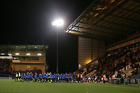 The teams take to the field during Colchester United vs Swindon Town, Sky Bet EFL League 2 Football at the JobServe Community Stadium on 28th January 2020