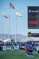 SAN JOSE, CA - JULY 24: San Jose Earthquakes players line up for the National Anthem before a game between San Jose Earthquakes and Houston Dynamo at PayPal Park on July 24, 2021 in San Jose, California.