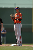 Baltimore Orioles first baseman Adley Rutschman (96) during a Minor League Spring Training game against the Pittsburgh Pirates on April 21, 2021 at Pirate City in Bradenton, Florida.  (Mike Janes/Four Seam Images)
