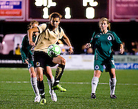FC Gold Pride forward Christine Sinclair (12) handles the ball against St. Louis Athletica during a WPS match at Korte Stadium, in St. Louis, MO, May 9 2009. St. Louis Athletica won the match 1-0.
