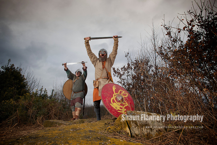 Pix: Shaun Flannery/shaunflanneryphotography.com...COPYRIGHT PICTURE>>SHAUN FLANNERY>01302-570814>>07778315553>>..24th February 2013..Forestry Commission..Dark Age Vikings return to Sherwood Forest..The Forestry Commission and Friends of Thynghowe are hosting a first ever re-enactment weekend when the UK's leading living history group Regia Anglorum set up a Viking camp in 1,200 hectare Sherwood Pines Forest Park, near Clipstone, Notts..Members of local group Conroi de Vey Thorfinn Longva (left) and Frithistan pictured at Thynghowe.