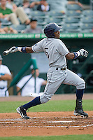 Isaias Velasquez #5 of the Charlotte Stone Crabs follows through on his swing against the Jupiter Hammerheads at Roger Dean Stadium June 15, 2010, in Jupiter, Florida.  Photo by Brian Westerholt /  Seam Images