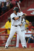 Second Baseman Chase Vergason #16 of the South Carolina Gamecocks swings at a pitch during a game against the South Carolina Gamecocks at Carolina Stadium on March 3, 2012 in Columbia, South Carolina. The Gamecocks defeated the Tigers 9-6. Tony Farlow/Four Seam Images.