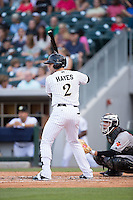Brett Hayes (2) of the Charlotte Knights at bat against the Indianapolis Indians at BB&T BallPark on June 17, 2016 in Charlotte, North Carolina.  The Knights defeated the Indians 4-0.  (Brian Westerholt/Four Seam Images)