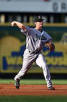 Jupiter Hammerheads shortstop Justin Bohn (13) throws to first during a game against the Bradenton Marauders on June 25, 2014 at McKechnie Field in Bradenton, Florida.  Bradenton defeated Jupiter 11-0.  (Mike Janes/Four Seam Images)