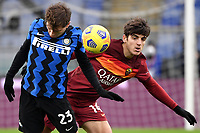 Nicolo Barella of FC Internazionale and Gonzalo Villar of AS Roma compete for the ball during the Serie A football match between AS Roma and FC Internazionale at Olimpico stadium in Roma (Italy), January 10th, 2021. Photo Andrea Staccioli / Insidefoto