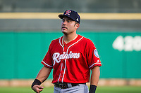 Jesus Montero (30) of the Tacoma Rainiers before the game against the Salt Lake Bees in Pacific Coast League action at Smith's Ballpark on September 2, 2015 in Salt Lake City, Utah. Tacoma defeated Salt Lake 13-6.  (Stephen Smith/Four Seam Images)