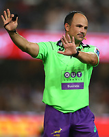 DURBAN, SOUTH AFRICA - MARCH 26: Referee Jaco Peyper during the Super Rugby match between Cell C Sharks and BNZ Crusaders at Growthpoint Kings Park on March 26, 2016 in Durban, South Africa. Photo by Steve Haag / www.stevehaagsports.com